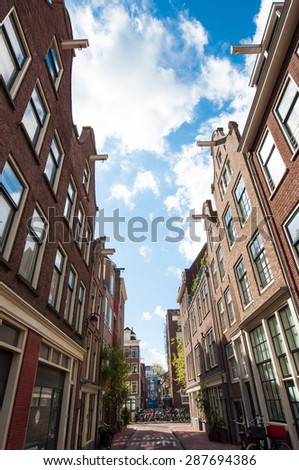 View of Jordaan district in Amsterdam-Centrum, the Netherlands. - stock photo