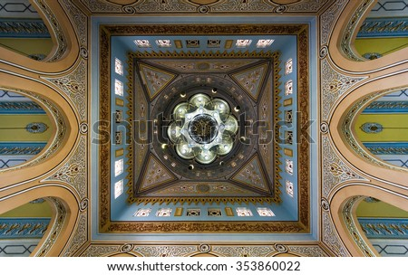 View of Jumeirah Grand Mosque dome interior in Dubai, UAE. It is said that it is the most photographed mosque in Dubai city and is open to non-Muslims for tours. - stock photo