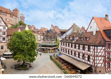 View of Kaiserburg castle and Nuremberg old town in Franconia, Bavaria, Germany. - stock photo