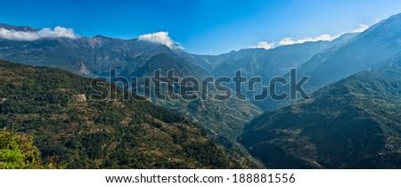 View of kalinchok mountain Photeng in the Kathmandu valley, Nepal - stock photo