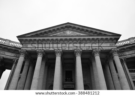 View of Kazan Cathedral in St.Petersburg, Russia. Black and white. - stock photo