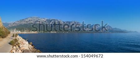 View of Kemer marina and Taurus mountains, Turkey - stock photo