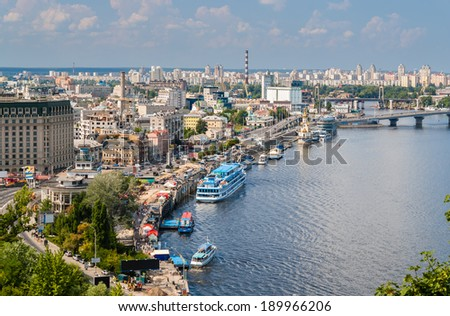 View of Kiev from an observation point over the Dnieper. Ukraine - stock photo