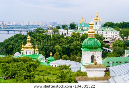 View of Kiev Pechersk Lavra, the orthodox monastery included in the UNESCO world heritage list. Ukraine - stock photo