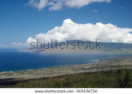 View of Kihei and Maalaea Bay from Piilani Highway, Maui, Hawaii -1 - stock photo