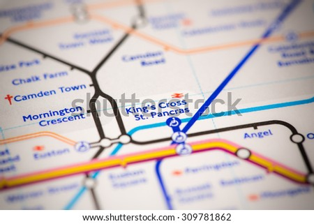 View of Kings Cross and St. Pancras station on a London subway map. - stock photo