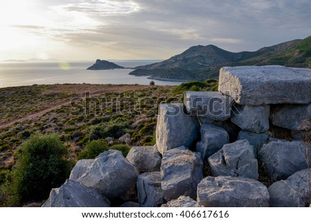 view of Knidos bay from ancient Greek ruins on the western edge of Datca peninsula Knidos, Datca, Turkey - stock photo