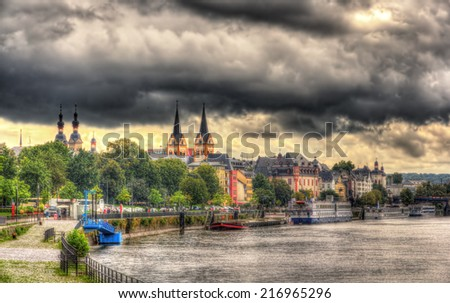 View of Koblenz's embankment - Germany - stock photo