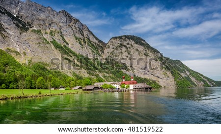 View of Konigssee the lake in the Alps, Germany