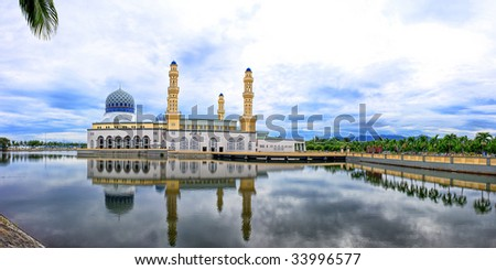 View of Kota Kinabalu City Mosque on cloudy day, located at Sabah, Malaysia.