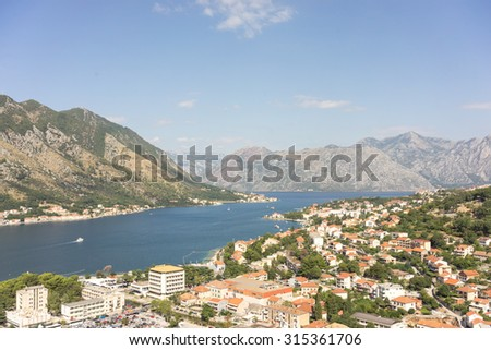 View of kotor old town from Lovcen mountain in Kotor, Montenegro.