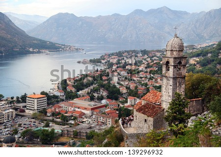 View of Kotor old town from Lovcen Mountain in Kotor, Montenegro. Kotor is part of the UNESCO World Heritage Site. - stock photo