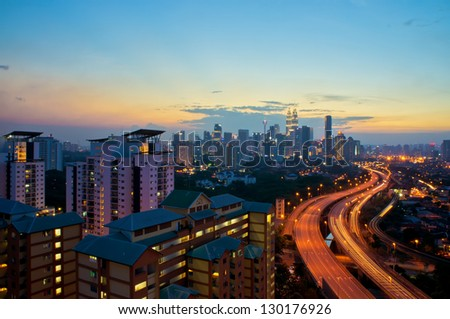 View of Kuala Lumpur city after sunset - stock photo