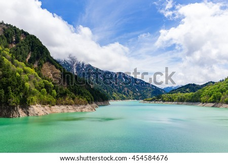 View of Kurobe Dam. The Kurobe Dam or Kuroyon Dam is a variable-radius arch dam on the Kurobe River in Toyama Prefecture, Japan.