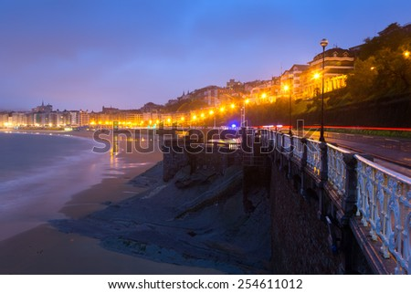 View of La Concha embankment in autumn sunset at Donistia. Basque Autonomous Community, Spain