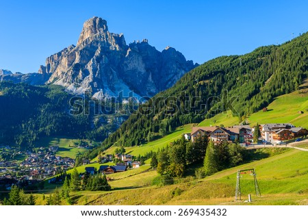 View of La Villa alpine village in Dolomites Mountains, South Tyrol, Italy - stock photo