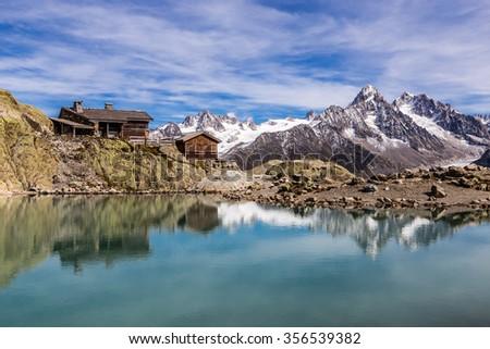 View Of Lac Blanc, Lac Blanc Refuge, Aiguille du Tour, Aiguille du Chardonnet, Aiguille d Argentiere, Aiguille de l A Neuve And Glacier d Argentiere-France - stock photo