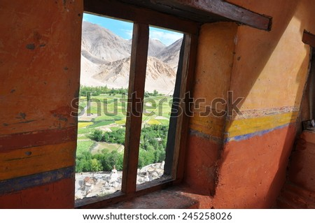 View of Ladakh valley from Thiksey monastery - stock photo