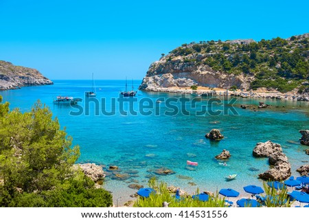 View of Ladiko Anthony Quinn Bay. Rhodes, Dodecanese Islands, Greece, Europe - stock photo
