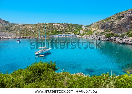 View of Ladiko bay and beach. Rhodes, Dodecanese Islands, Greece, Europe - stock photo