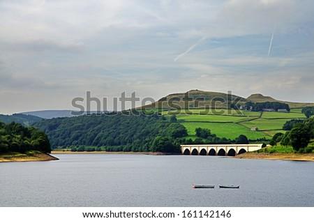 View of Ladybower Reservoir, Derbyshire - stock photo