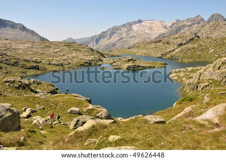 View of lake and mountains in Spanish Pyrenees