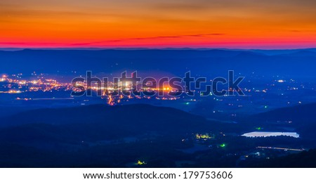 View of Lake Arrowhead and Luray after sunset from Skyline Drive in Shenandoah National Park, Virginia. - stock photo