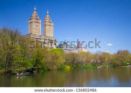 View of lake at Central Park NYC  in Spring - stock photo
