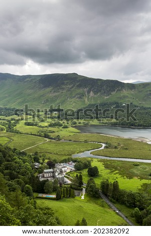 View of Lake Derwentwater from Ashness Wood, in Lake District, England. - stock photo
