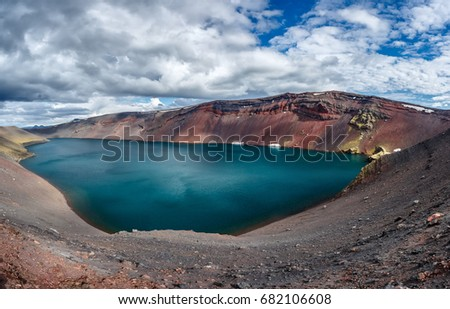 View of lake Ljotipollur in crater of volcano in Iceland