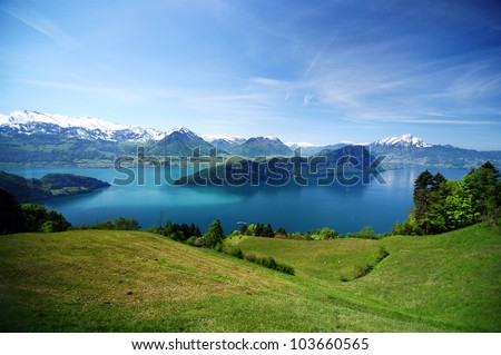 View of Lake Lucerne on the descent from Mount Rigi, Switzerland