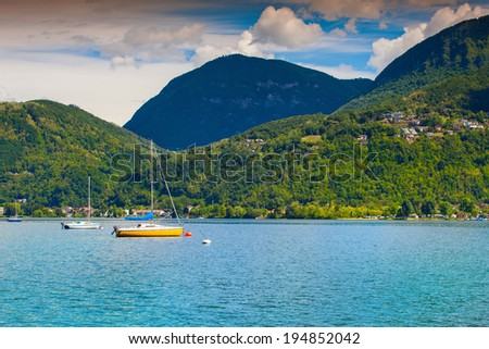 View of Lake Lugano from the town of San Vitale, Switzerland, Alps. - stock photo