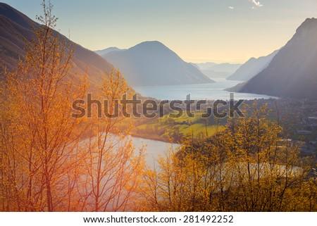 View of lake Piano or Romazza and Lugano lake, Italy - stock photo