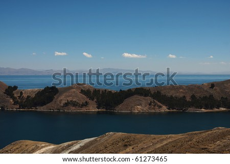 view of lake titicaca - stock photo