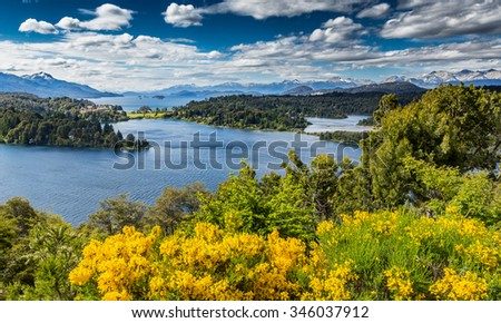 View of Lake Victoria in San Carlos de Bariloche in South America - stock photo