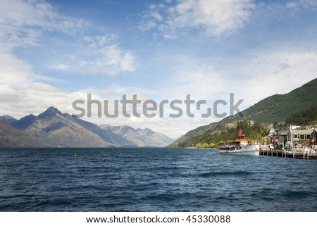 View of Lake Wakatipu, Queenstown, New Zealand - stock photo
