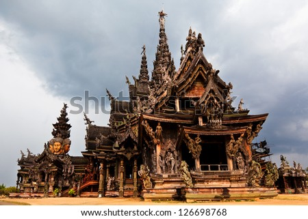 View of largest wooden temple Sanctuary of Truth situated of north of Pattaya in Thailand