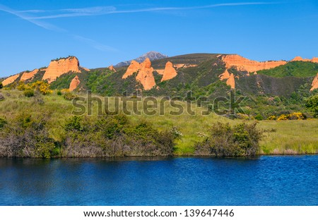 "View of ""Las Medulas"" Ancient Roman Mines With Blue Lake, Leon, Spain. - stock photo"