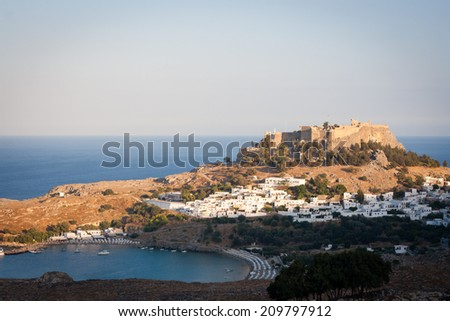 View of Lindos bay at sunset, Rhodes, Greece - stock photo