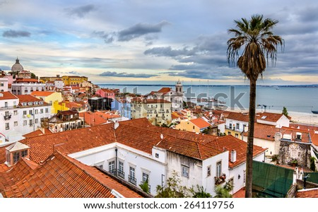 View of Lisbon and the Tagus river - Portugal - stock photo