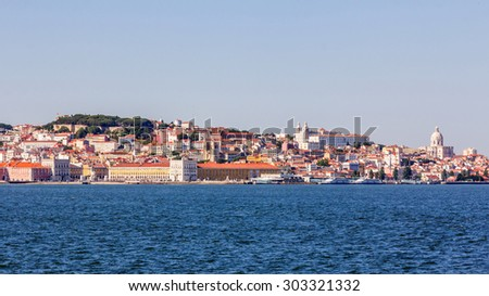 View of Lisbon with the river Tagus in Portugal - stock photo