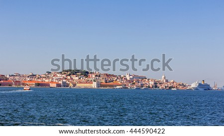 View of Lisbon with the river Tagus in Portugal