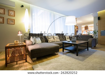View of living room in modern designed interior - stock photo