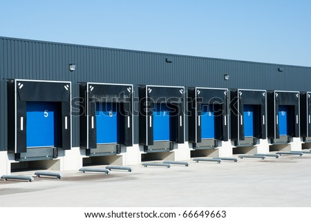 View of loading docks - stock photo