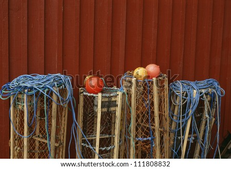 View of lobster pot with buoy - stock photo