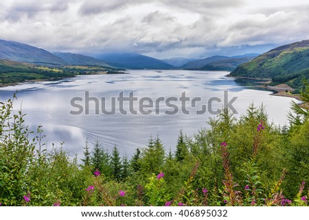 View of Loch Carron, Scotland. This is a sea loch on the west coast of Ross and Cromarty in the Scottish Highlands. It is the point at which the River Carron enters the North Atlantic Ocean.  - stock photo