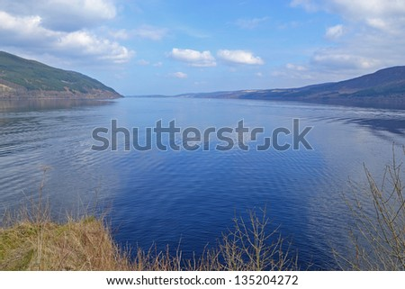 view of Loch Ness in Scotland - stock photo
