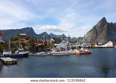 view of Lofoten archipelago bay
