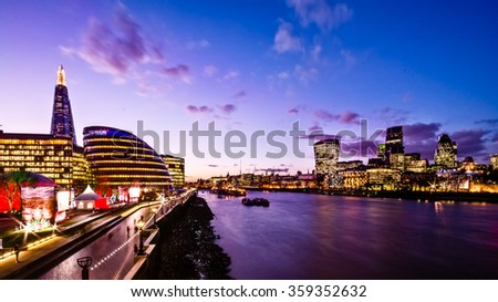 View of London at dusk with the Shard and river. - stock photo