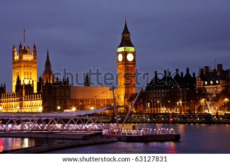 View of London at night the Big Ben and the parliament - stock photo